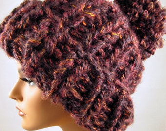 Chunky Beanie with Pompon Hand Knitted in Bordeaux / Red