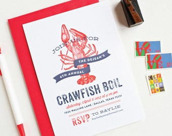 Crawfish Boil Banner Party Invitations - Seafood Boil Birthday Party Invitations