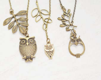 owl necklace, animal necklace, bird necklace, leaf lariat necklace, whimsical gift, sisters necklaces, couple necklace, bridesmaids necklace