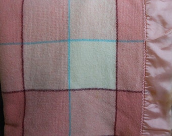 Vintage FARIBO Fluff Loomed Blanket Pinks Turquoise Plaid Beauty 66X83