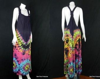 Tie Dye Handmade Hippie Gypsy Bohemian Women's Vest Maxi Long Dress Tank Blouse TB3