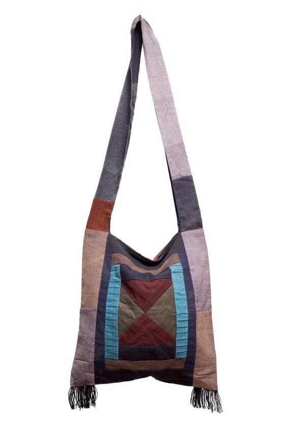 Thai Cotton Sling Bag Purse Hobo Hippie Sling Crossbody