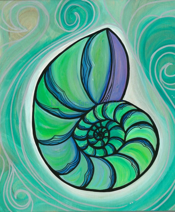 Original Painting on Wood Nautilus Shell Glowing Ocean Art by Lauren Tannehill ART