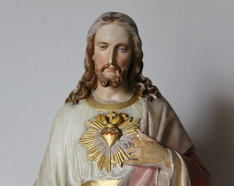 Large Vintage French Chalkware Statue of Jesus, Sacred Heart, Saint-Étienne Cathedral . Religious Collectors