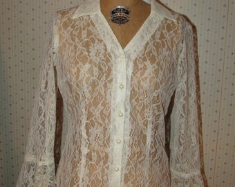 Vintage 1980s Sheer White Lace Blouse Gothic Bell Sleeves Button Front Pansy Print Fashion Bug Small