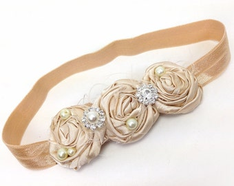 Champagne Rosette Headband with Pearl and Crystal Embellished - Newborn Photo Prop, Baptism, Flower Girl, Birthday,  Baby Shower Gift