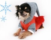 Dog Clothes Christmas Elf Pom Pom striped dog Hoodie Sweater