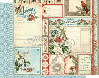 """BOTH January Pages - Graphic 45 """"Time to Flourish""""  ** See Discounted Shipping Note**"""