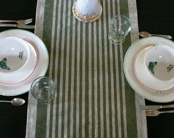 Rustic Natural and Evergreen Striped Linen Table Runner