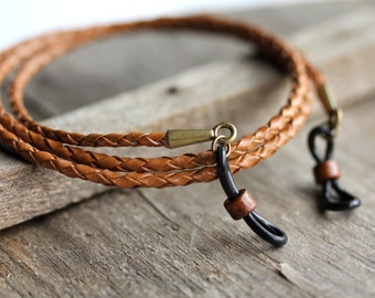 Leather Eyeglass Chain, Mens Eyeglass Chain,Lanyard, Leather Lanyard, Mens Lanyard-Mens Accessories- Mens Eyewear,For Him-Gifts for Men
