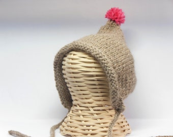 Pom Pom Pixie Hat, Baby Bonnets, Baby Hat, Newborn Photography Prop, Modern Baby Bonnet, Pixie Hood, Knit baby hat, baby boy hat, alpaca hat