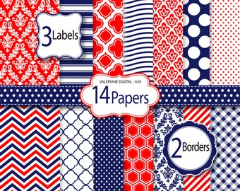Red and navy blue Digital Paper and clipart pack, damask digital paper, polka dots wave chevron patterns - Pack 650