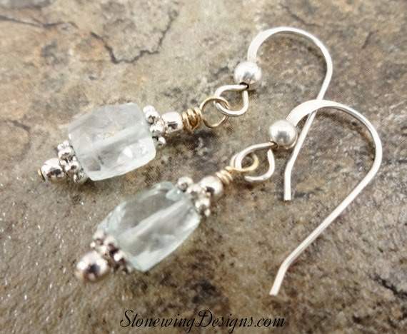 Faceted Square Aquamarine Dangle Earrings
