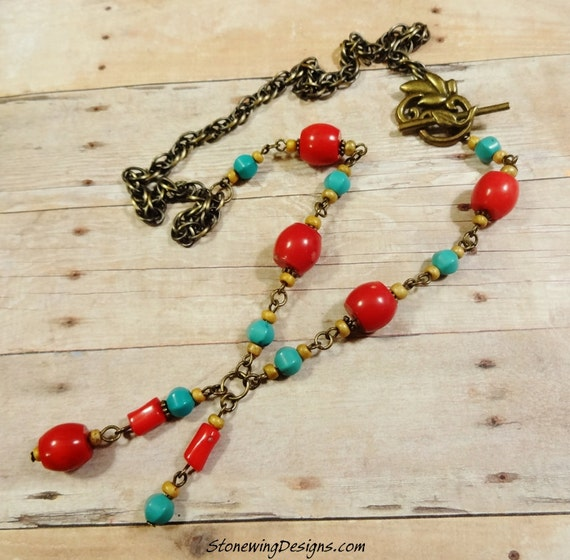 Rustic Turquoise and Red Coral Wire-Wrapped Necklace