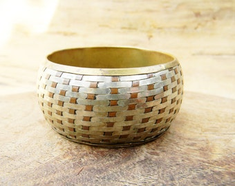 Vintage Brass and Silver Basketweave Bangle Cuff Bracelet