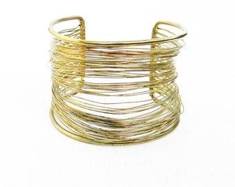 Vintage Brass Wire Cuff Bracelet