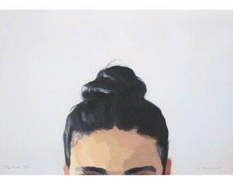 "5x7"" hair art - bun print - ""Top Knot 43"""