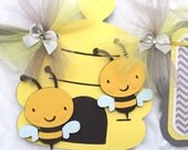 Bee baby shower banner, bee decorations, gender neutral banner, gender reveal, gray chevron, photo prop