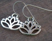 Titanium Earrings, Silver Lotus Flower Charms with Hypoallergenic Titanium Ear Wires