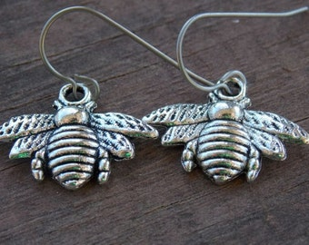 Titanium Earrings, Silver Bee Charms with Hypoallergenic Titanium Ear Wires