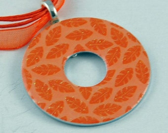 Handmade Upcycled Washer Necklace - Orange Leaves