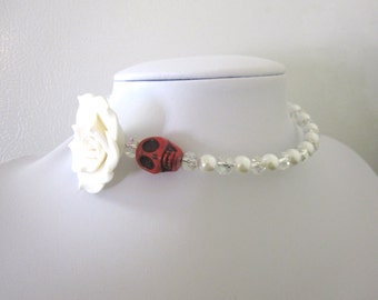 Sugar Skull Necklace White Rose Red Choker Day of the Dead Wedding
