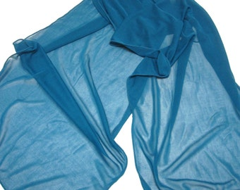Teal Blue Scarf Throw Wrap Head Sheer
