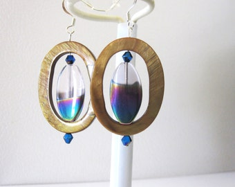 Shell Dangle Rainbow Prism Earrings