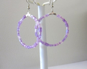 Purple Hoop Dangle Earrings