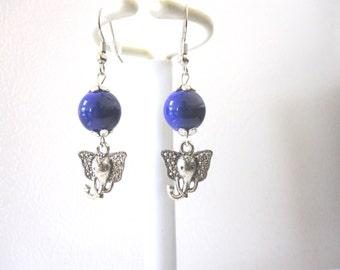 Purple Silver Elephant Earrings
