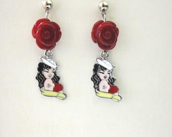 Nautical Earrings Enamel Black Red Rose Rockabilly Pinup Sailor Girl Jewelry
