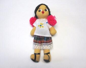 Vintage Folk Art Doll Fabric Girl Kissy Faced