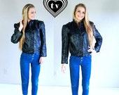 for Marcy vtg 80s BLACK leather MOTORCYCLE JACKET Medium/Large outerwear coat rocker moto biker