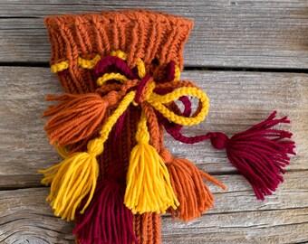 Bohemian Leg Warmers with Tassels, Pure Wool Burnt Orange Legwarmers, Boho Accessories
