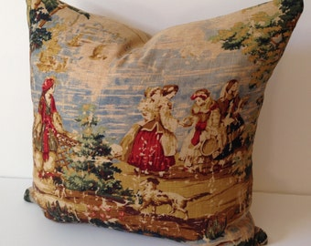 Decorative Pillow Cover in Bosprus Ocean 128 Distressed Toile Fabric