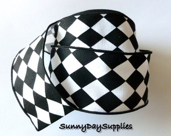 Checker Board Diamond Shape Ribbon, Diamond Pattern Black and White Ribbon, Wide and Wired,  2 Yards, 2.5 inch wide, Wide Diamond Print