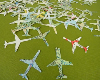 Airplane Confetti Destination Wedding Map Vintage Recycled Map Atlas - TINY Die Cut Table Scatter  Scrapbooking Travel Theme - 150pcs
