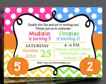 Pumpkin Invitation Printable or Printed with FREE SHIPPING - Single Birthday or Sibling - Birthday, Pumpkin Patch, Pumpkin Carving