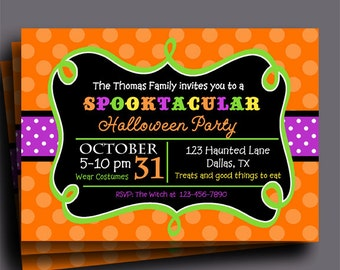 Halloween Invitation Printable or Printed with FREE SHIPPING - Halloween Party or Birthday ANY Wording - Multi-Color Collection