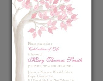 Elegant Tree Celebration of Life Invitation Printable or Printed with FREE SHIPPING - ANY Occasion