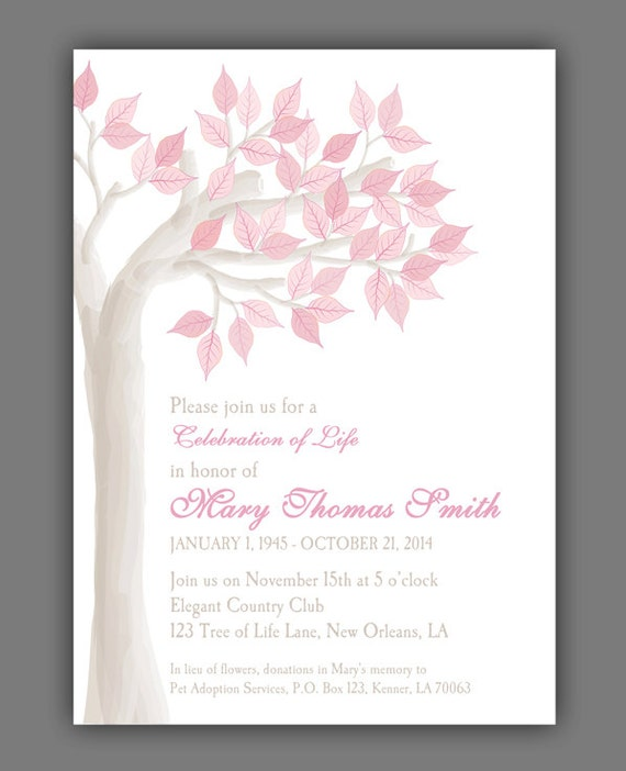 Elegant Tree Celebration Of Life Invitation Printable Or Printed