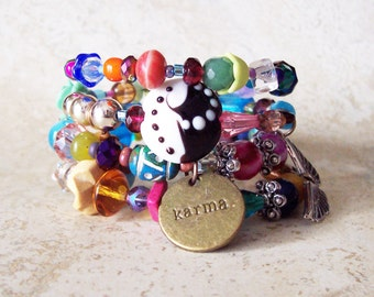 GB01 Colorful Gypsy Bracelet with Vintage and New Beads, Swarovski crystals and so much more