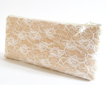 Jasmine Lace Clutch for Bridesmaid, Romantic Will You Be My Bridesmaid Proposal Gift Bag, Garden Party Wedding Purse