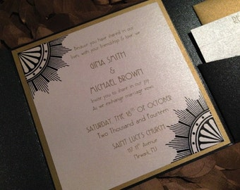 Black and Gold- Roaring 20's inspired invitation -Great Gatsby - Art deco