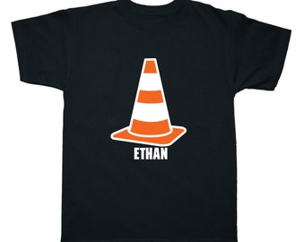 Personalized Construction Cone Construction Birthday Shirt - any name - pick your colors!