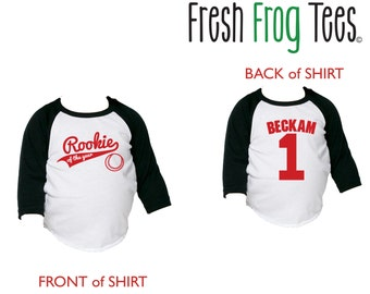 Rookie of the Year first birthday personalized baseball shirt - pick your colors!