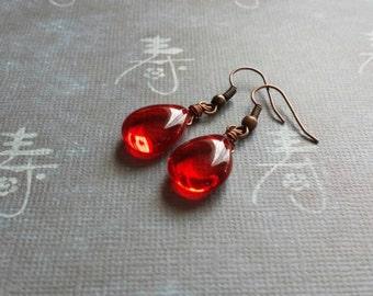 Wire Wrapped Siam Ruby Teardrop Earrings - Wire Wrapped Artisan Jewelry - Vintage Red Earrings - Clearance Sale
