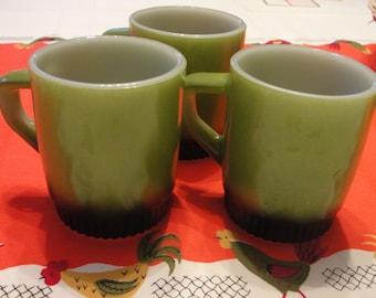 Fire king set of three avocado and black mugs