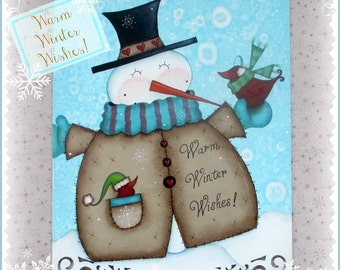 E PATTERN - Warm Winter Wishes! Sweet Snuggly Snowman with his Birdie Friends - Designed and Painted by Sharon Bond - FAAP