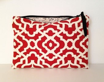 Red and Ivory zipper bag, a cosmetic bag, makeup case, small zipper pouch, Mother's Day Gift